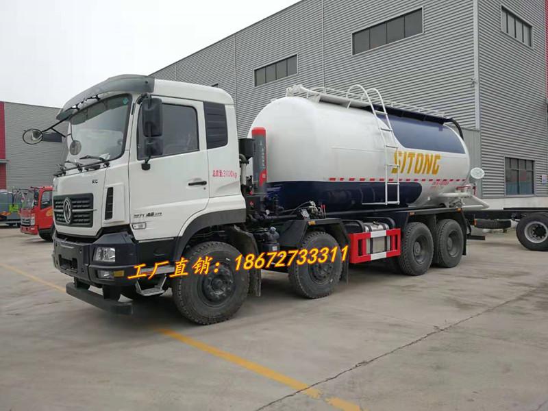 东风天龙8x4举升式干混砂浆运输车(可打湿沙子)