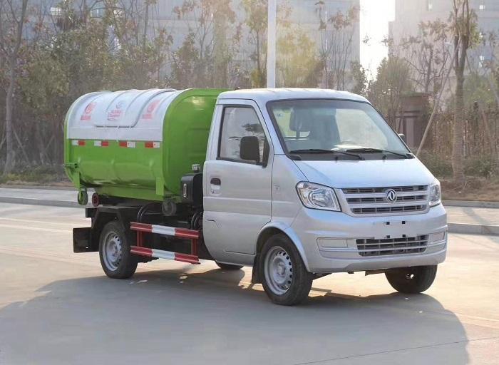 东风小康3方勾臂垃圾车,车厢可卸式垃圾车